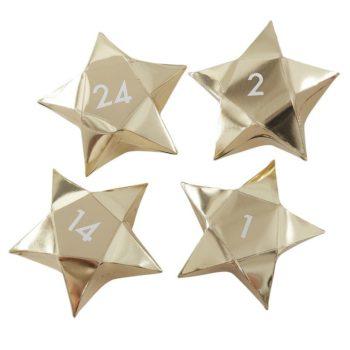 Ginger Ray kultaiset pienet tähdet toimivat kauniina joulukalenterina perheen pienille! Tähtiin voit sujauttaa lapsille tehtäväkortteja, herkkuja tai pieniä leluja! Numeroidut tähdet voit ripustaa nauhaan tai vaikka roikkumaan lasten omaan kuuseen!