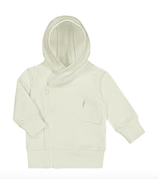 Gugguu Baby Hoodie vauvan huppari, sävy Pearl White Miniversio rakastetusta suosikkituotteesta! Gugguu Baby Hoodie on hyvin laadukas huppari vauvalle. Tyylikäs, paksummasta kankaasta ommeltu huppari sopii hyvin päivittäiseen käyttöön ja lämpimämmällä kelillä menee myös takista. Valkoisessa hupparissa on valkoinen vetoketju ja tasku.