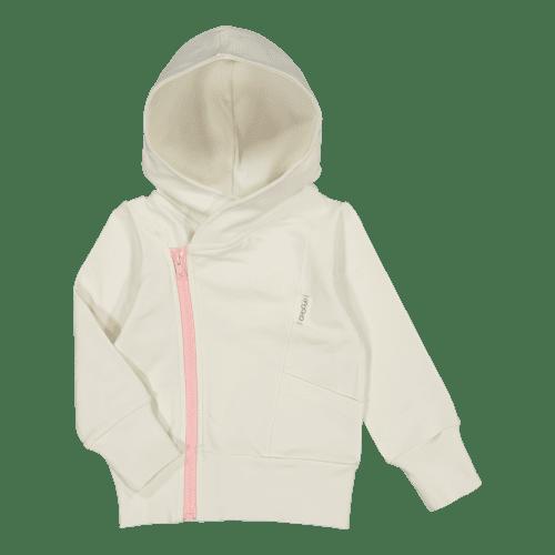 Rakastettu suosikkituote! Gugguu College Hoodie on hyvin laadukas huppari vauvalle. Candy kokoelman tyylikäs, paksummasta kankaasta ommeltu huppari sopii hyvin päivittäiseen käyttöön ja lämpimämmällä kelillä menee myös takista. Valkoisessa hupparissa on kivana yksityiskohtana vaaleanpunainen vetoketju.