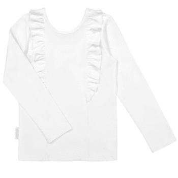 Gugguu pitkähihainen Bella paita, sävy White Sand Candy kokoelman tyylikäs pitkähihainen trikoopaita, jossa suloisena yksityiskohtana röyhelöt. Röyhelöt kulkevat pääntiessä niskan puolella ja laskeutuvat kauniisti paidan etuosaan.