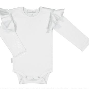 Gugguu Frilla Body, sävy White Sand Pehmeä ja laadukas Candy malliston vauvanbody on todella suloinen vauvan päällä! Pitkähihaisessa bodyssa on ihastuttavat frillahihat, jotka luovat kauniin yksityiskohdan vauvan asuun. Olkapäällä on kaksi nepparia helpottamaan bodyn pukemista. Ajattoman tyylikäs body on kätevä yhdistää housuihin ja hameeseen: body pitää myös vauvan selän suojassa silloin, kun vauvaa nostetaan, eikä nouse korviin.