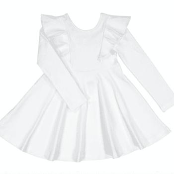 Gugguu pitkähihainen Rizi mekko, sävy White Sand Candy kokoelman pitkähihainen trikoomekko, jossa ihanana yksityiskohtana röyhelösomisteet. Mekossa on kaunis leikkaus ja kangas on laadukasta & hyvin joustavaa.
