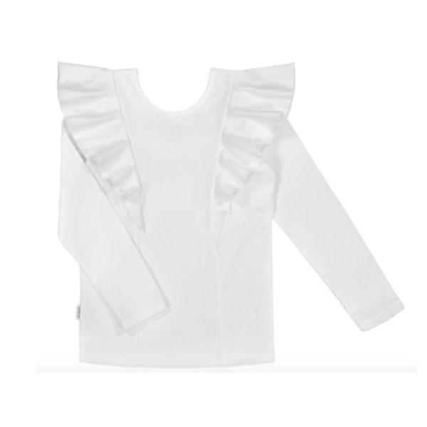 Gugguu Rizi LS Shirt, sävy White Sand Candy kokoelman tyylikäs pitkähihainen paita, jossa kauniina yksityiskohtana röyhelöt.