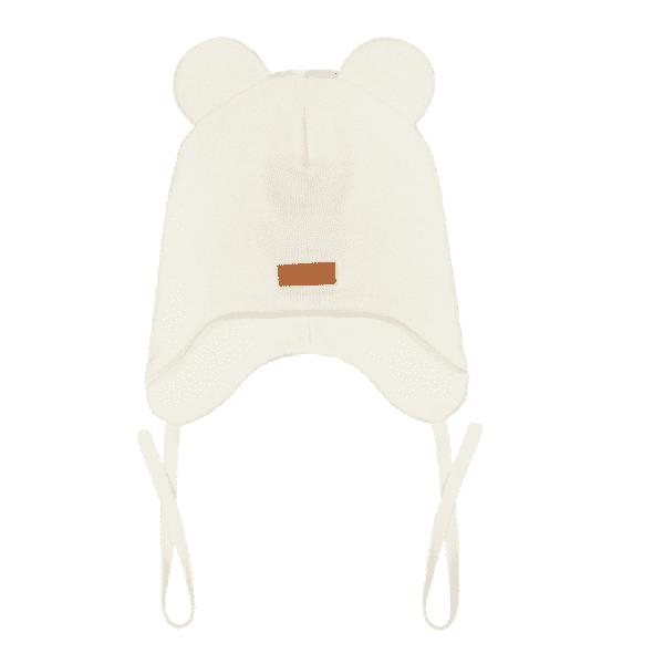 Gugguu Baby Bear vauvan nauhapipo nallekorvilla, sävy White Sand Yksinkertaisen tyylikäs nauhapipo on ommeltu pehmeästä ja joustavasta kankaasta. Luomupuuvillainen pipotuntuu mukavalta lapsen päässä eikä hankaa. Hyvin istuva pipo pysyy paikallaan valumatta silmille. Tämä pipomalli suojaa korvien lisäksi tehokkaasti myös vauvan poskia!