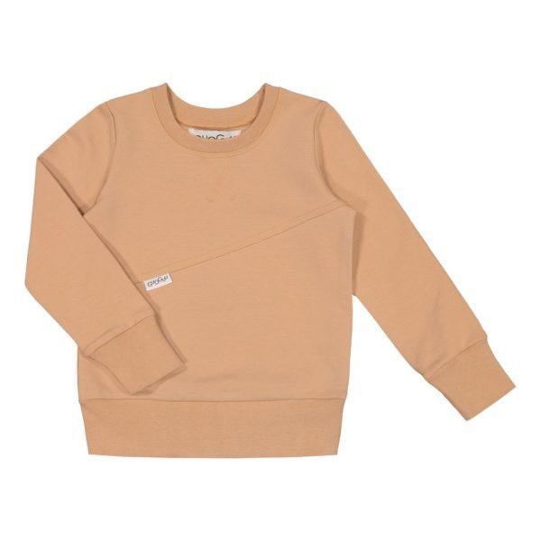 Gugguu Mono College paita, sävy Sugar Cookie Natural kokoelman tyylikäs pitkähihainen collegepaita, jossa kivana yksityiskohtana poikittainen leikkaus. Pääntiessä ja hihansuissa on resorit. Materiaali on todella mukavaa, pehmeää ja joustavaa, jotta lapsen on mukava liikkua. Äidit ovat kehuneet tätä materiaalia todella kestäväksi käytössä: paidan kangas pysyy siistinä pesu toisensa jälkeen! Kiitosta ovat saaneet myös riittävän pitkät hihat, joiden ansiosta paidan käyttöikä on tavallista pidempi!
