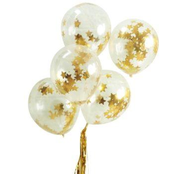 Läpinäkyvät Ginger Ray ilmapallot, sisällä kultaista tähticonfettia Säihkyvät ilmapallot koristelevat juhlapaikan kauniisti. Palloihin voit puhaltaa joko pelkkää ilmaa tai heliumia + ilmaa. Confetit leviävät pallojen sisällä joko ravistamalla tai hankaamalla palloa hetken esimerkiksi mattoa vasten, jotta pallo hieman sähköistyy.