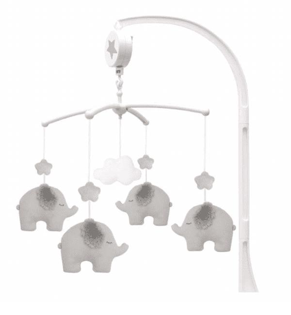 Jabadabado musiikkimobile vauvalle, elefantit ja pilvi Vauva viettää suuren osan hereilläoloajastaan sylissä tai selällään maaten ja tarkkaillen. Pieni vauva ei vielä pääse liikkumaan, joten kiinnostavat asiat on tuotava hänen luokseen. Vauva viihtyy sängyssään ennen nukahtamista ja heräämisen jälkeen vielä hetken, jos ympäristöstä on tehty mukava. Rauhallisesti soiva mobile herättää vauvan huomion ja rauhoittaa vauvaa. Monet vauvat myös nukahtavat hyvin kuunnellessaan mobilen pehmeää ja tyynnyttävää musiikkia.